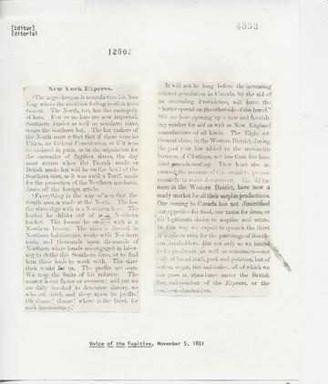 Voice of the Fugitive - November 5, 1851
