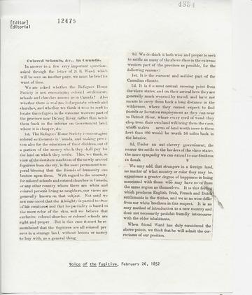 Voice of the Fugitive - February 26, 1852