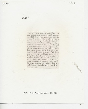 Voice of the Fugitive - October 21, 1852