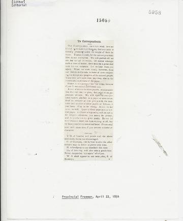 Provincial Freeman - April 22, 1854