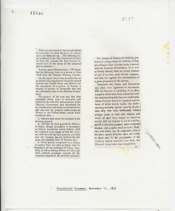 Provincial Freeman - November 11, 1854