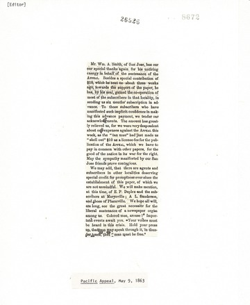 Pacific Appeal - May 9, 1863