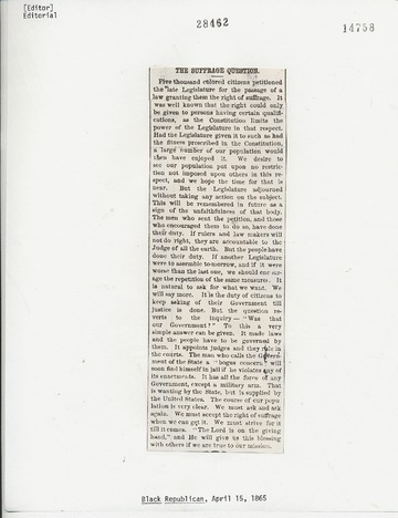 Black Republican - April 15, 1865