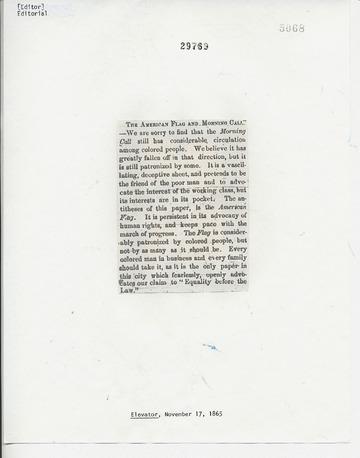 Elevator - November 17, 1865