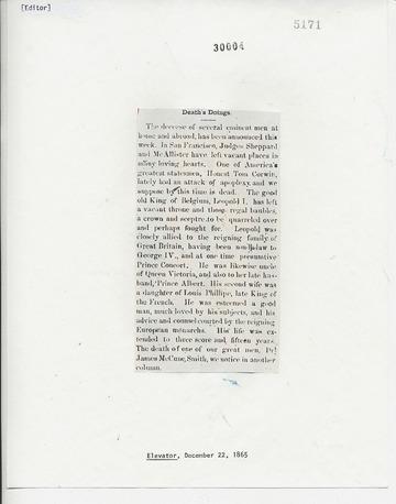 Elevator - December 22, 1865