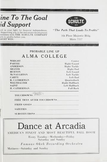 University of Detroit Football Collection: University of Detroit vs. Alma