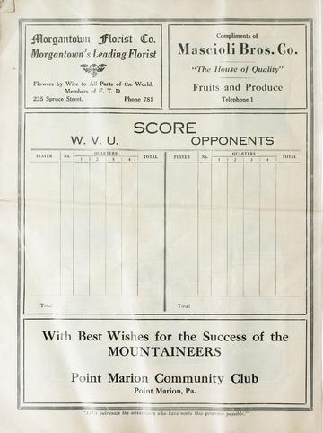 University of Detroit Football Collection: University of Detroit vs. West Virginia Program