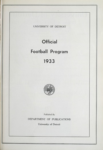 University of Detroit Football Collection: University of Detroit vs. Michigan State College Program