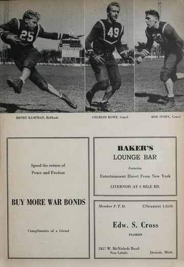 University of Detroit Football Collection: University of Detroit vs. Wayne University Program