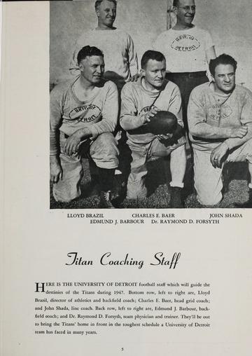 University of Detroit Football Collection: University of Detroit vs. Central Michigan Program