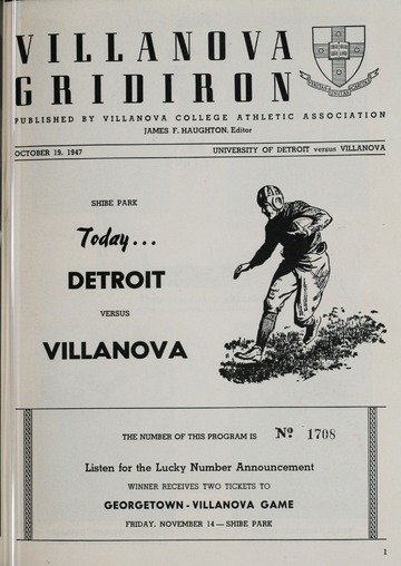 University of Detroit Football Collection: University of Detroit vs. Villanova Program
