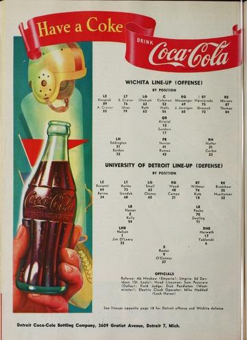 University of Detroit Football Collection: University of Detroit vs. Wichita Program
