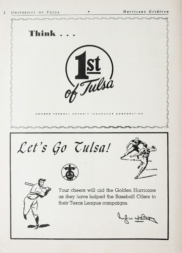 University of Detroit Football Collection: University of Detroit vs. University of Tulsa Program
