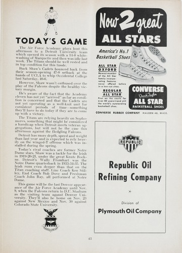 University of Detroit Football Collection: University of Detroit vs. Air Force Academy Program