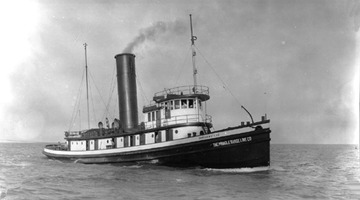Fr. Edward J. Dowling, S.J. Marine Historical Collection: Starboard side view, 1920s. Steel tug designed for ocean service, used on Great Lakes to tow barges.