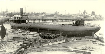 Fr. Edward J. Dowling, S.J. Marine Historical Collection: Joseph L. Colby - Starboard side view, fitting out at Superior, 1890.