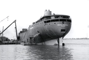 Fr. Edward J. Dowling, S.J. Marine Historical Collection: Edmund Fitzgerald - Stern view fitting out at River Rouge.