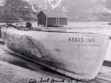 Fr. Edward J. Dowling, S.J. Marine Historical Collection: Argus - lifeboat found on the Canadian shore following the Great Storm of 1913