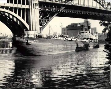 Fr. Edward J. Dowling, S.J. Marine Historical Collection: Port side bow view, as an oil tanker, on the Cuyahoga River in Cleveland, Ohio.