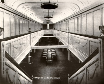 Fr. Edward J. Dowling, S.J. Marine Historical Collection: Interior, grand saloon and gallery forward, 1920s.