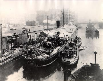 Fr. Edward J. Dowling, S.J. Marine Historical Collection: Tioga - After July 11, 1890, boiler explosion, stem view.