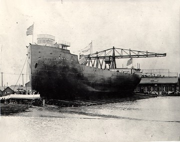 Fr. Edward J. Dowling, S.J. Marine Historical Collection: Bow view, port side sideways launch, at Ecorse, Michigan.