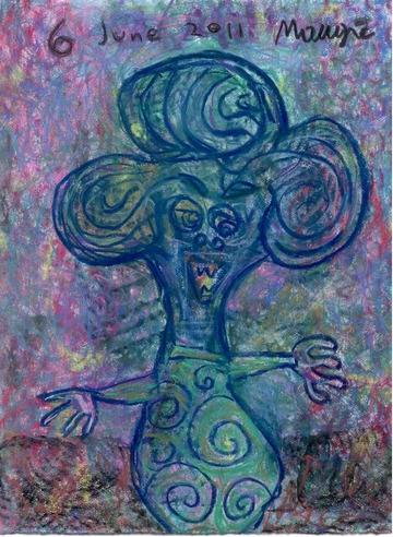Maurice Greenia, Jr. Collections: Loop-headed Figure, in pastels