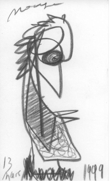 Maurice Greenia, Jr. Collections: birdlike, a pencil drawing