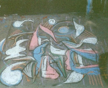 Maurice Greenia, Jr. Collections: Willis Gallery, Pink, Blue and White Drawing, closer