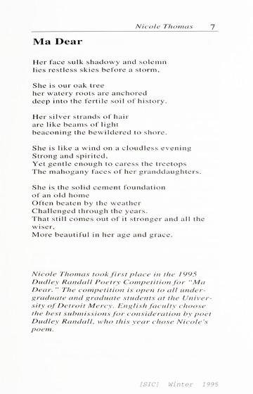 [SIC] Volume 4, Number 1, Winter 1995 University of Detroit Merc