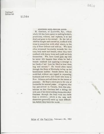 Voice of the Fugitive - February 26, 1851