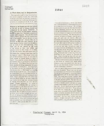 Provincial Freeman - April 15, 1854