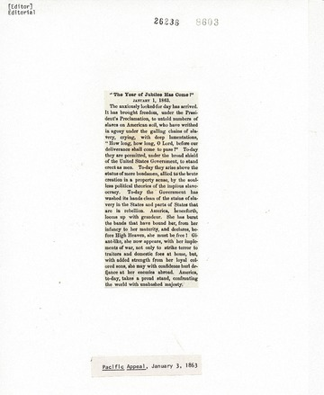 Pacific Appeal - January 3, 1863