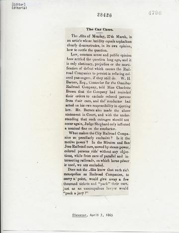 Elevator - April 7, 1865