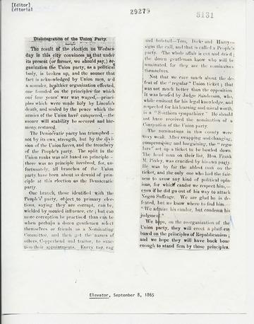 Elevator - September 8, 1865