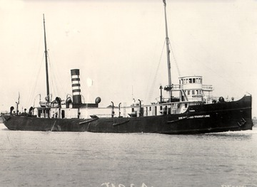 Tioga - Starboard bow view, 1890s.