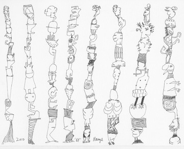 Eight Totem Pole Figures, drawn in NYC