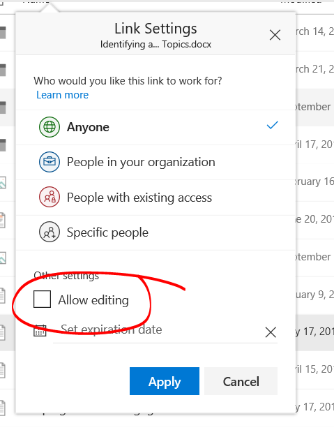Allow editing options