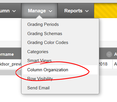 Manage, column organization