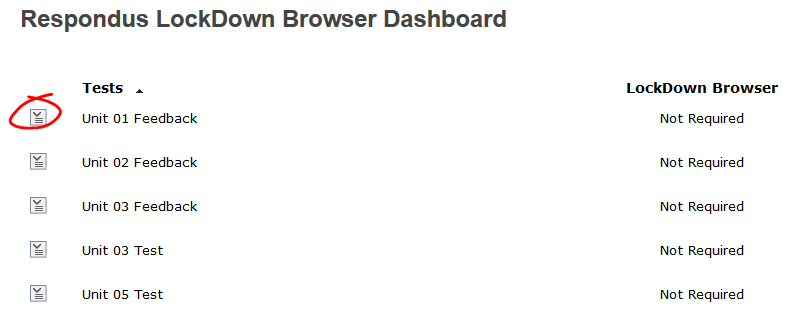 Lockdown Browser dashboard